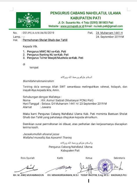 Surat Sholat Ghoib KH. Asmu'i Sadzali