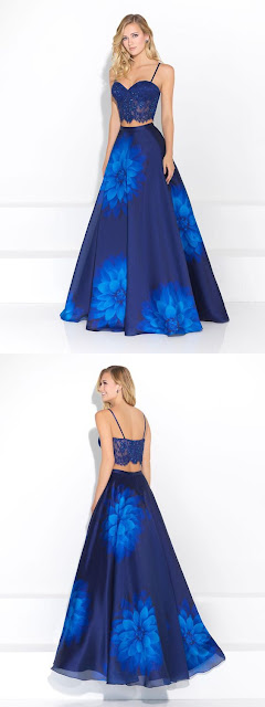 prom dress laces and blue smoky floral