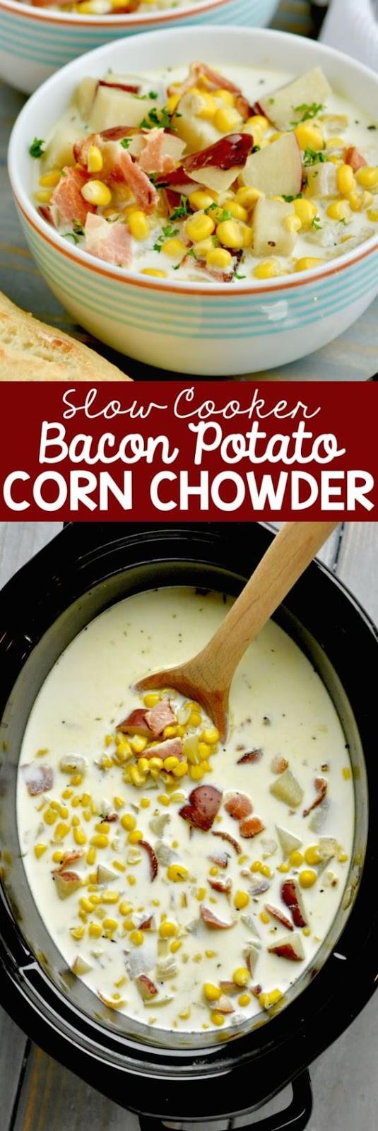 Slow Cooker Bacon Potato Corn Chowder
