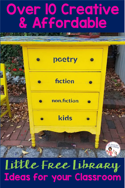 Ideas for over 10 creative and inexpensive ways to incorporate a Little Free Library in your kindergarten, 1st, 2nd, or 3rd grade classroom. Promote literacy, build community, and foster ELA skills in your elementary school with this free take a book, leave a book concept. {K, first, second, third graders, LFL, reading} #freebie #classroomsetup