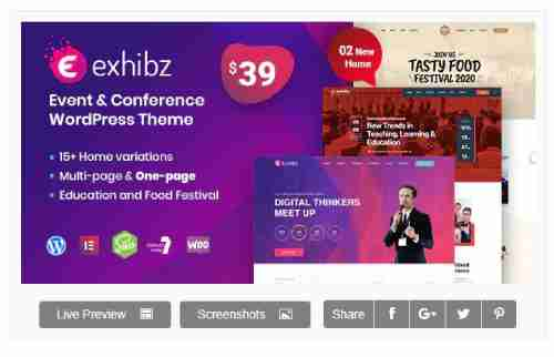 Download Theme Wordpress Exhibz v2.1.5 - Event Conference