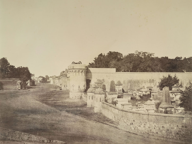 View of the Outer Walls of the Magazine with a Portion of the European cemetery on the Left - Delhi 1858
