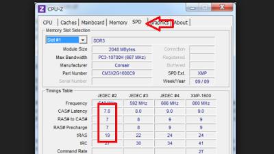 Jika Timing RAM tidak ditulis oleh produsen pada kemasanya anda bisa menggunakan aplikasi CPUz lalu buka tab Memory SPD, disana ada kolom memory timing.