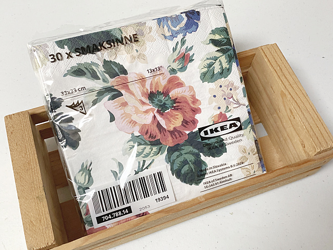 floral IKEA napkins and wooden crate