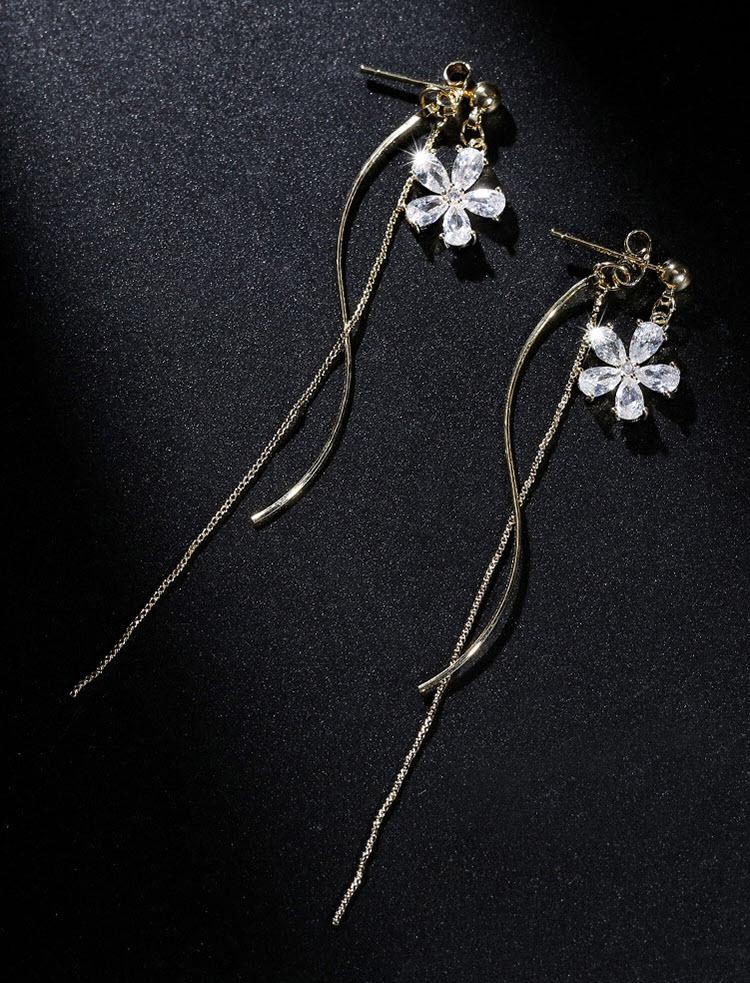 晨曦兩戴式鋯石花朵流蘇耳環