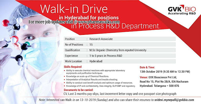 GVK Bio Sciences - Walk-in interview drive on 13th October, 2019