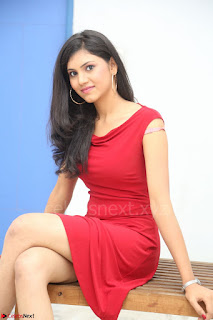 Mounika Telugu Actress in Red Sleeveless Dress Black Boots Spicy Pics 014.JPG