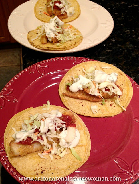 Potato Chip Crusted Tilapia Tacos with Tomato Relish and Tangy Green Onion Sour Cream