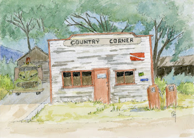 pen watercolor sketch art country store abandoned gas pump