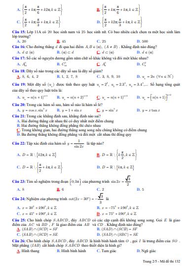 Đề thi học kì 1 môn toán lớp 11