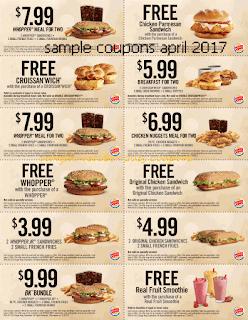 Burger King coupons for april 2017
