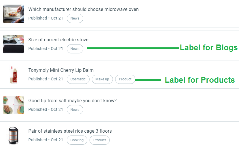 choose the Product label