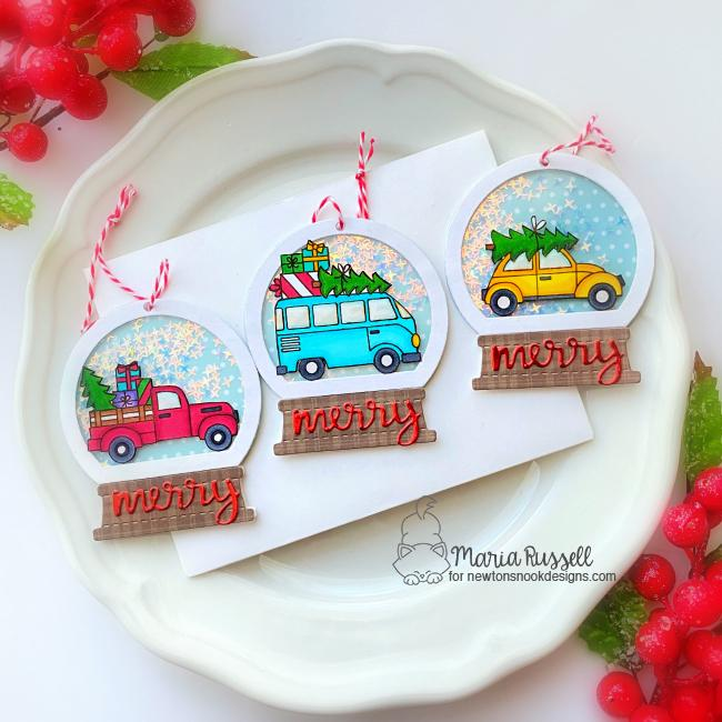 Snowglobe christmas tree ornaments by Maria Russell | Christmas Delivery Stamp Set and Snowglobe Shaker Die Set by Newton's Nook Designs #newtonsnook #handmade