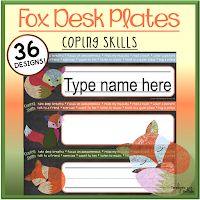 Fox themed coping skills desk plates