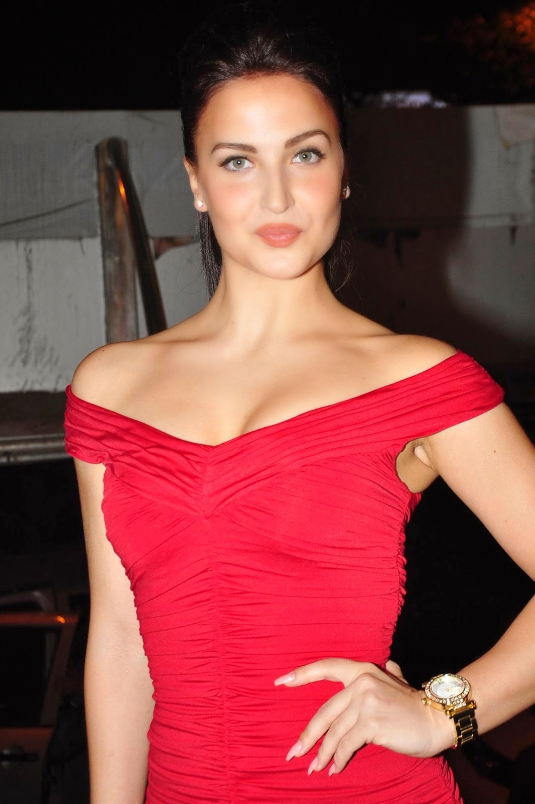 Elli Avram Sizzling In Red Short  Cute Marathi Actresses -4670