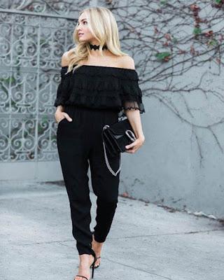 Vestido enterizo negro largo