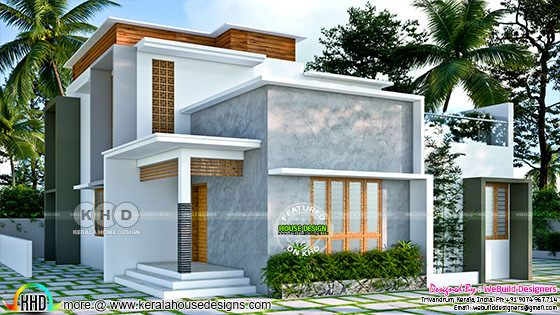 Modern 3 bedroom contemporary style Kerala house rendering