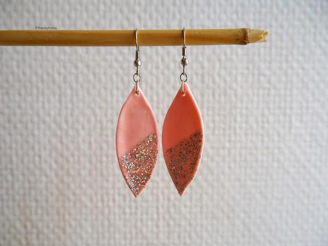 DIY boucle d'oreille rose et paillettes