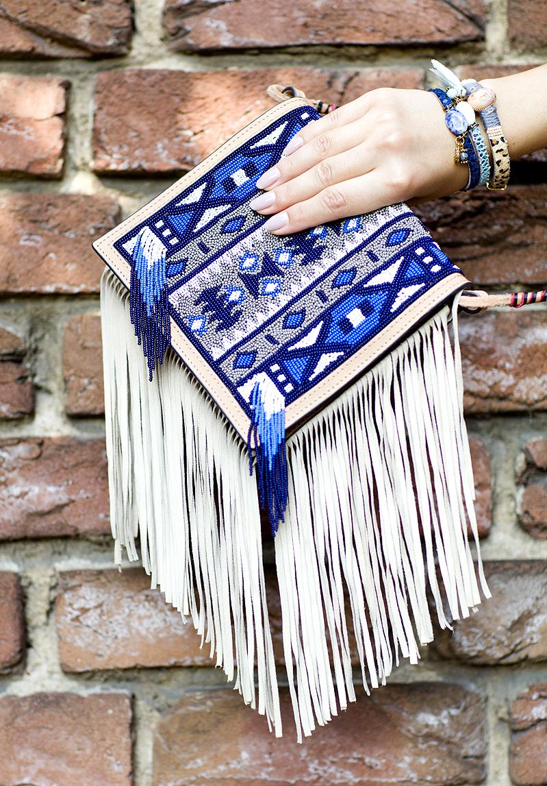 Massimo Dutti Beaded Bestickt Fransen Tasche Tassel Bag