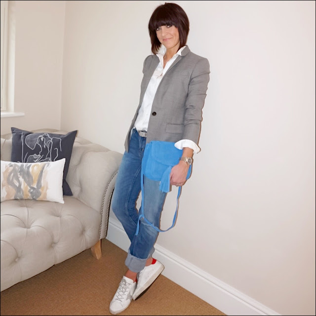 My Midlife Fashion, J Crew Thomas Mason Tuxedo shirt, J Crew regent blazer, laura ashley blue plait detail across body bag, the white company suede belt, zara distressed straight leg turn up jeans, golden goose superstar low top leather trainers