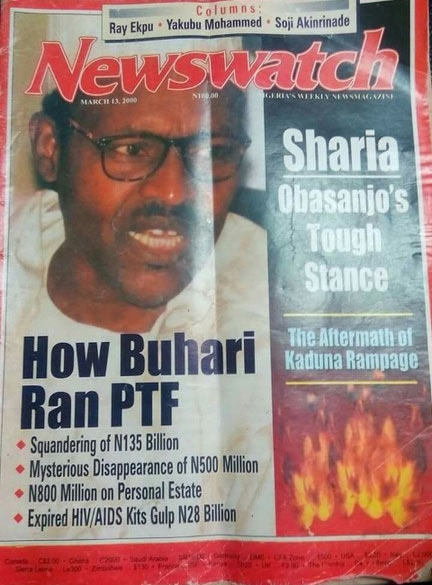 Check out cover of this March 13, 2000 Newswatch Magazine featuring Buhari