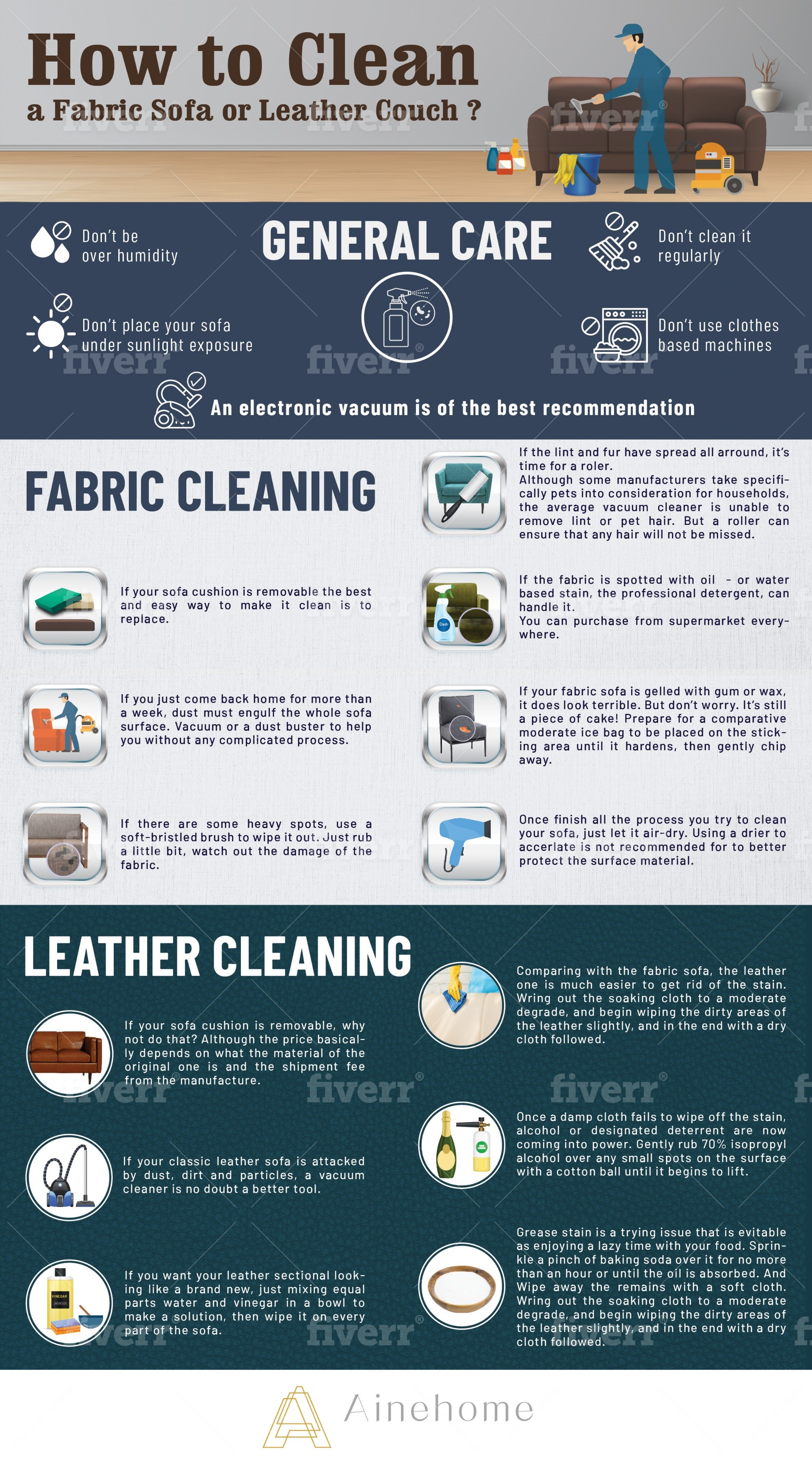 How to Clean a Fabric Sofa or Leather Couch #infographic