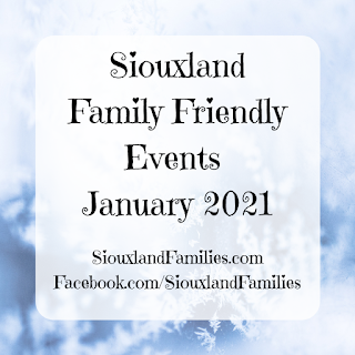 """in background, ice crystals. in foreground, the words """"siouxland family events january 2021"""""""