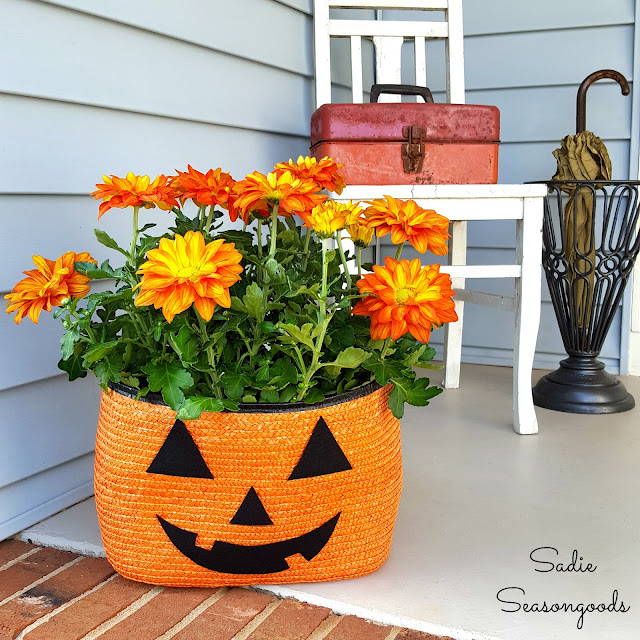 Straw Tote Pumpkin Planter