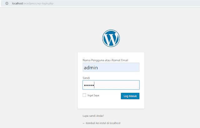 wp-admin di localhost