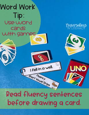 Using fluency strips with Uno Games for word work activities