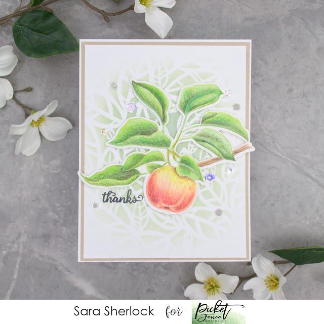 Picket Fence Studios, Vintage Apple, Funky Leaves Stencil, Prismacolor Pencils, coloring, ink blending