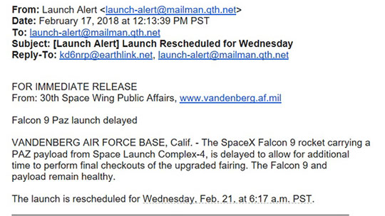 Falcon 9 launch from Vandenberg delayed till Wednesday, February 21