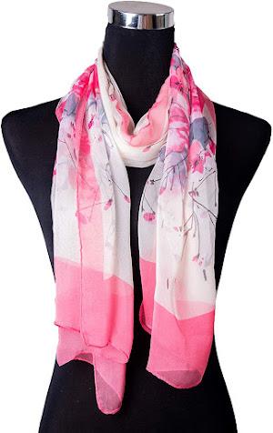 Flower Pattern Pink Chiffon Scarves Shawls