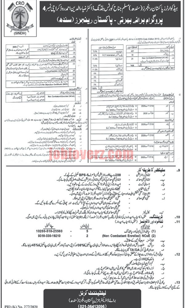 Sindh Rangers Jobs 2020 Advertisement Apply from All