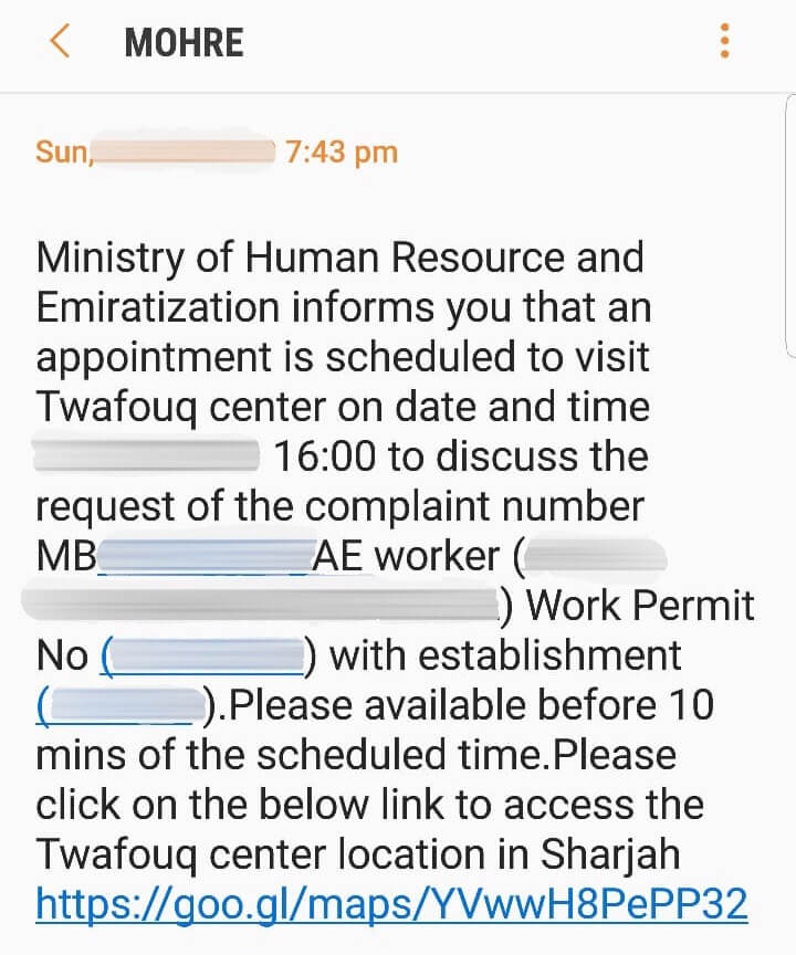 Ministry of Labour complaint