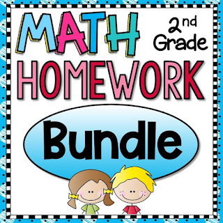 2nd Grade Math Homework or Morning Work and Spiral Review for second graders