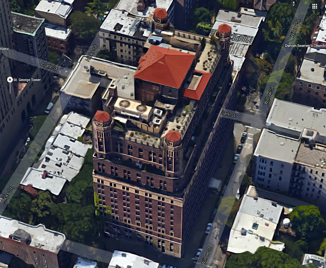 Aerial view of sixteen story Leverich Towers Hotel