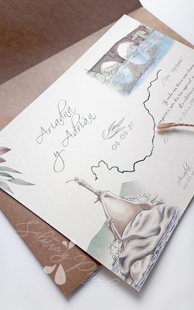 Invitación mapa con ilustraciones