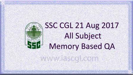 SSC CGLE 21 Aug 2017 All Subject, QA