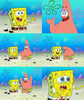 Polosan meme spongebob dan patrick 93 - patrick dan spongebob menangis bersedih di pinggir pantai