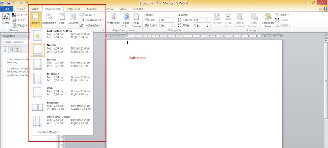 Cara Mengatur Margin di Microsoft Word 2013