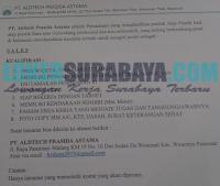 Bursa Kerja Surabaya di PT. Aldtech Prasida Astama Oktober 2019