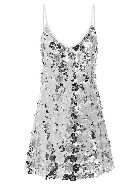 Sequin Glitter Shiny Slip Club Dress - Silver