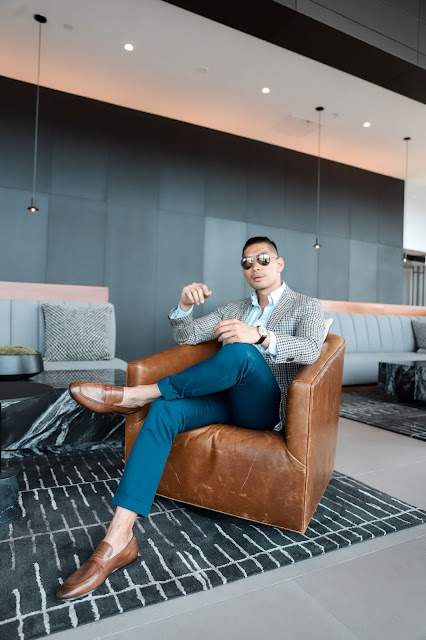 Leo Chan wearing Otis Cognac Leather Penny Loafer from Gordon Rush, Menswear Blogger