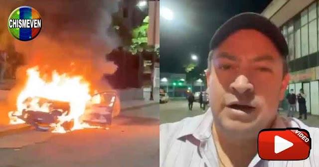 Vehículo quemado en las traseras de BEKO y funcionarios se quedan a ver cómo se lo devoran las llamas