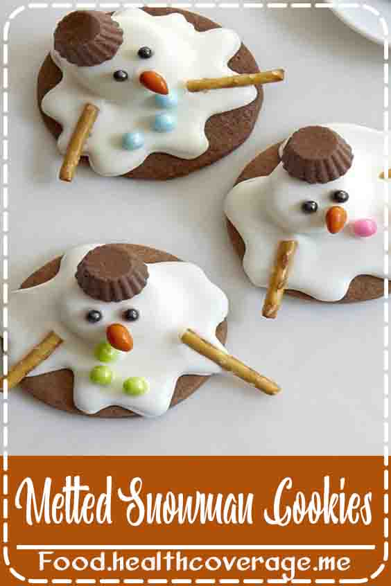 Adorable AND delicious easy-to-make melted snowman cookies. The cookie base is a peanut butter cookie and is topped with peanut butter cups and a white chocolate coating.
