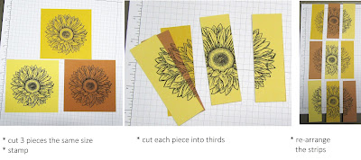 series of 3 pictures shows how to create the tri-color ombre look using Stampin'Up!'s Celebrate Sunflowers stamp set
