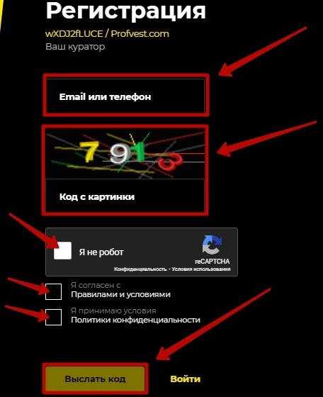 Регистрация в Torexo