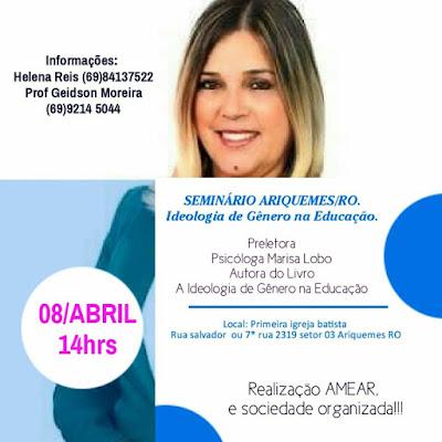Seminário sobre ideologia de gênero em Ariquemes com Marisa Lobo