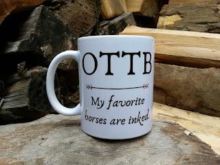 Handmade ceramic OTTB horse lover gift mug